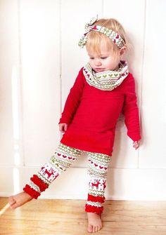 Christmas Kid Baby Girl Long Sleeve T-Shirt Top+Lace Ruffles Pants Longs Outfit