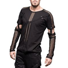 Goth bondage shirt with removable mesh-sleeves http://www.the-black-angel.com/gothic-longsleeves-men/1323-bondage-shirt-removable-mesh-sleeves.html