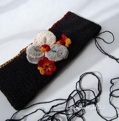Free Shipping Flower Headband Black Knitted by LaimutesHDJ on Etsy