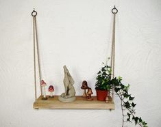 Hanging Rope Shelves, Solid Oak Doors, Oak Shelves, Mixed Fiber, Live Edge Wood, How To Make Shorts, Fairy Lights, Rustic, Crafts