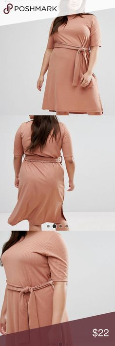"ASOS MIDI RIB DRESS PLUS-SIZE DRESS by PINK CLOVE Ribbed stretch jersey Round neck Removable waist tie Side splits Regular fit - true to size Machine wash 96% Polyester, 4% Elastane Our model wears a UK 18/EU 46/US 14 and is 173cm/5'8"" tall ASOS Dresses Midi"