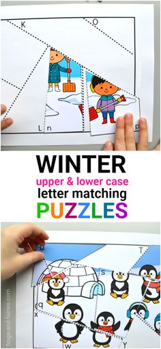 These winter letter matching puzzles are great for practicing upper and lower case letters recognition! Each puzzle piece has a letter written on it. Kids will match the letter puzzle piece with letter on the mat and place the puzzle piece on the correct spot.