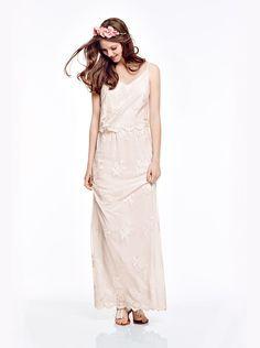 NAF NAF - Robe longue en dentelle OFF WHITE - Longues Femme