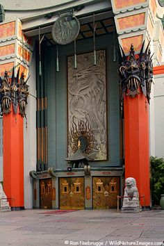 GRAUMAN'S CHINESE THEATRE  Built in 1927, Grauman's Chinese Theatre is a popular tourist attraction  along Hollywood Boulevard, Hollywood, California