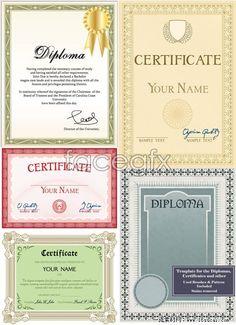 Five-card certificate template suitable