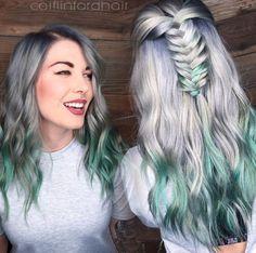 Un color menta platinado para ese pelo que sobrepasa la altura de tus hombros.