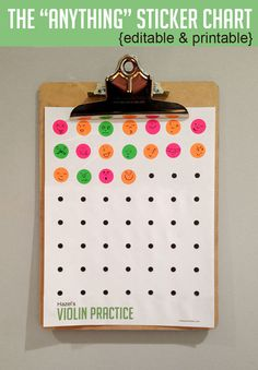 """Need a sticker chart for practicing piano? Potty-training? Dog walking? Swim practice? Running 3 laps? Violin? Flute? Tuba? Brushing Teeth? You name it, this chart is what you're looking for. It's The """"Anything"""" Sticker Chart. This printable is a PowerPoint... Continue Reading →"""