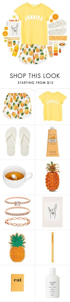"""G'Morning."" by s-elle ❤ liked on Polyvore featuring MANGO, Havaianas, Crabtree & Evelyn, Sagaform, Dolce&Gabbana, Accessorize, Urban Outfitters, Sunnylife, Too Faced Cosmetics and Jayson Home"