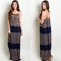 Navy Blue & Brown Spaghetti Strap Maxi Dress New with tags. Navy blue and brown spaghetti strap maxi dress. So soft and perfect for summer. Available in size S, M, and L.                                        95% viscose, 5% spandex.                                        Made in USA.                                                           PRICE IS FIRM UNLESS BUNDLED.                         ❌SORRY, NO TRADES. Boutique Dresses Maxi