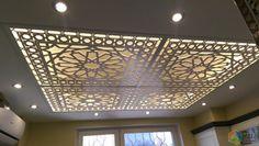Подвесной потолок из ГКЛ, ажурные вставки на потолке