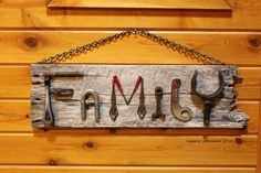 """Family"" ~ Junk art sign by Laurie Schnurer 2014."