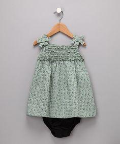 Green Bow Sundress & Diaper Cover - by Rim Zim Kids