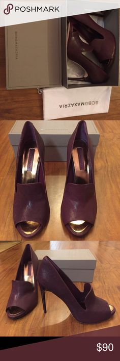 Demi Peep-toe Loafer Pump in wine Brand new never worn, this color is hard to describe it is a deep rich color wine or Burgundy are words I would use it's in between red and purple with a somewhat brownish tone the heels are super cool imitating wood grain BCBGMaxAzria Shoes Heels