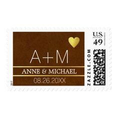 initials name and date on brown wedding postage - married gifts wedding anniversary marriage party diy cyo