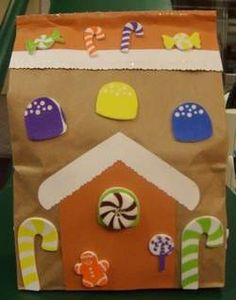 Gingerbread house out of brown paper bags