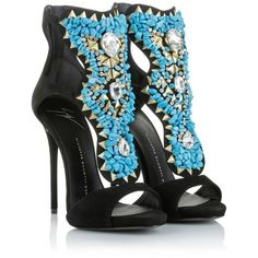 Giuseppe Zanotti Sandals, Coline Strap Sandal Black / Turquoise Shoe ($685) ❤ liked on Polyvore featuring shoes, heels, boots, scarpe, colorful, high heel stilettos, turquoise shoes, strap shoes, colorful shoes and kohl shoes