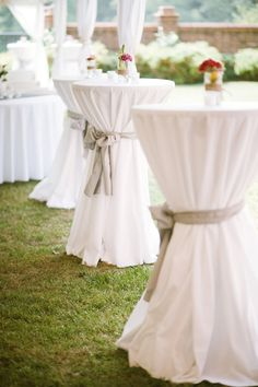 Cocktail tables for outside before the ceremony-colored sashes would be pretty…