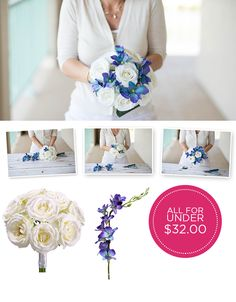 Make this bouquet yourself and the cost of the flowers will be under $40.  Save money on your wedding flowers by using silks from Afloral.com.