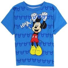 Mickey Mouse Hiya Blue Toddler Short Sleeve Shirt From Disney      Sizes 2T 3T 4T     Made From 60% Cotton 40% Polyester     Label Disney Mickey Mouse