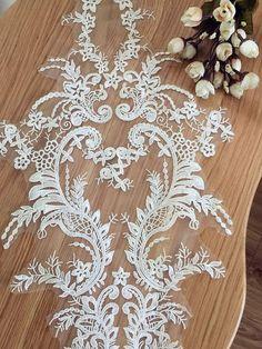 Wedding Lace Applique Bridal Gown Applique Ivory Lace by lacetime