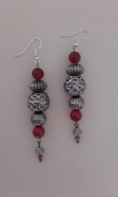 Dangle & drop ethnic earrings with carnelian and crystal beads / Boho earrings / Hippy earrings / Vintage earrings Boho Earrings, Vintage Earrings, Drop Earrings, Crystal Beads, Crystals, Carnelian, Hippy, Hippie Boho, Ethnic