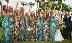 Printed bridesmaid dresses - 17 Bridal Parties Who Rocked Floral Prints Like Nobody's Business – Printed bridesmaid dresses Destination Bridesmaid Dresses, Printed Bridesmaid Dresses, Beach Bridesmaids, Bridesmaid Flowers, Bohemian Bridesmaid, Bridesmaid Ideas, Hawaian Party, Cruise Wedding, Hawaii Wedding