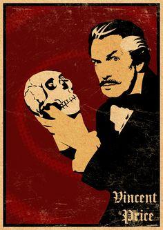 Vincent Price with Skull, pop art. Halloween Horror, Holidays Halloween, Vintage Halloween, Halloween Crafts, Halloween Images, Halloween Ideas, Retro Horror, Vintage Horror, Vintage Films