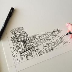 Onto another cityscape drawing... #art #drawing #pen #sketch #illustration #linedrawing #city #cityscape #architecture #buildings #budapest #hungary