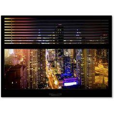 """Trademark Fine Art """"Window View Manhattan Night 1"""" Canvas Art by Philippe Hugonnard"""