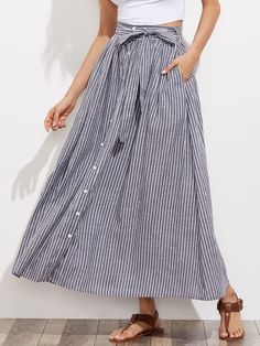 Pair with espadrilles. Shop Self Tie Hidden Pocket Detail Button Up Pinstripe Skirt online. SheIn offers Self Tie Hidden Pocket Detail Button Up Pinstripe Skirt & more to fit your fashionable needs. Modest Fashion, Fashion Outfits, Womens Fashion, Travel Outfits, Fashion Black, Fast Fashion, Ootd Fashion, Fashion Fashion, Trendy Fashion
