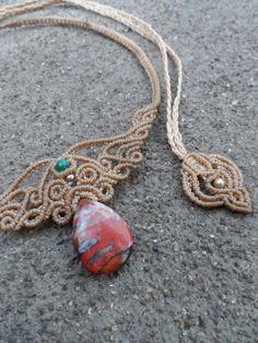 Breciated Red Jasper Macrame necklace choker stone by LaQuetzal