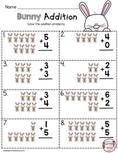 EASTER Addition Worksheets for kindergarten - FREE printables for April in math - reading and writing for pre-k - first Easter Worksheets, Kindergarten Addition Worksheets, First Grade Worksheets, Free Kindergarten Worksheets, Homeschool Kindergarten, Math Activities, Free Worksheets, Homeschooling, Anchor Charts
