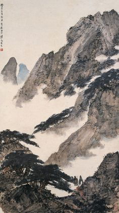 """thorsteinulf: """" Fu Baoshi Fu Baoshi was a Chinese painter from Xinyu, Jiangxi Province. Credited with revolutionizing Chinese ink painting, Fu is perhaps the most original figure painter. Asian Landscape, Chinese Landscape Painting, Chinese Painting, Landscape Paintings, Japan Painting, Ink Painting, Chinese Arts And Crafts, Chinese Artwork, Korean Painting"""