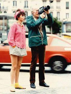 """Rosette and Éric Rohmer on the set of """"Pauline à la plage"""" (1983)"""