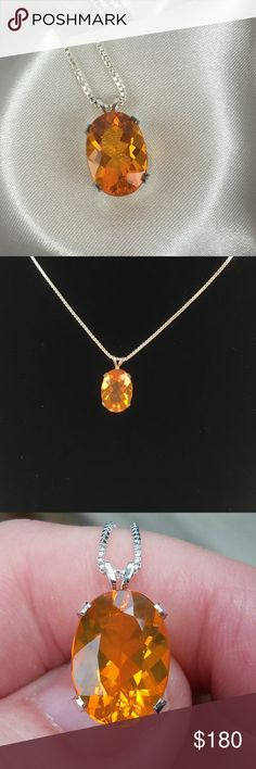 🔥Brazilian Fire Opal Pendant🔥 This Brazilian Fire Opal* Pendant is breathtaking! It's a 14x10mm faceted oval and is 3.50cts.  It is set (my myself) in .925 Sterling Silver. It comes with a S/S chain. The Pendant comes boxed for gift 🎁 giving. NWOT.   *Fire opals from Brazil range in colors from light yellow to orange. Natural, no treatment. Fire Opal owes its color to trace impurities of Iron Oxide. Opal is a hydrated form of silica with a water content ranging from approximately 3 to…