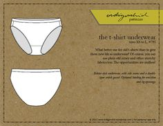 Free Sewing Pattern: Underwear. Sizes XS-L. States Universal Sizes. Also Look At Posts: https://indigorchid.wordpress.com/2011/11/11/sewing-underwear-the-basics/. Also One For Underwear Sewing Extras.