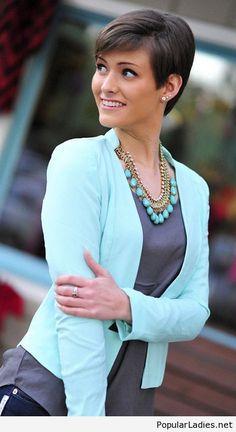 Grey top and light blue blazer