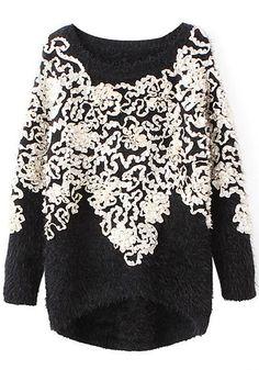 3D-petals Mohair Black Sweater