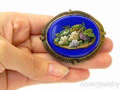 Italian Mosaic Brooch | ... Italian 18K Gold Blue Grape Vines Micro Mosaic Pin Brooch | eBay