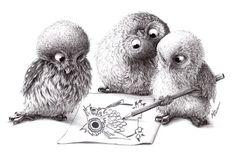 by Stefan Kahlhammer NEU - NEW 4 Eulen - 4 Owls Tusche und Bleistift - Ink and…