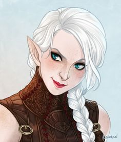 "needapotion: "" thesocialjusticemage: ""I got to commission @needapotion for a portrait of my new d&d character the cunning wood elf Ioni Melora. I'm so so happy with how it turned out, it looks exactly..."
