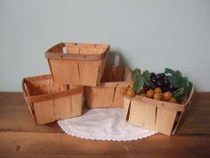 Vintage Wooden Berry Boxes Set of 4 Quart Size by jessamyjay