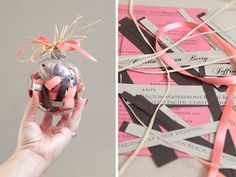 Make a christmas ornament out of an extra wedding invitation! So cute!