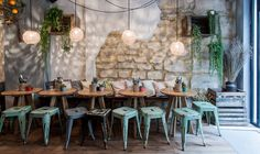 Winter Garden Meets Tapas via My Little Paris Restaurants In Paris, Tapas Bar, Deco Restaurant, Restaurant Design, Coffee Shop Design, Cafe Design, Resto Paris, Sweet Home, Cafe Bistro