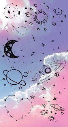 Tumblr Wallpaper, Cartoon Wallpaper, 3d Wallpaper Android, Planets Wallpaper, Wallpaper Space, Cute Wallpaper Backgrounds, Wallpaper Iphone Cute, Pretty Wallpapers, Aesthetic Iphone Wallpaper