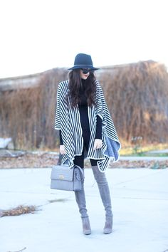 Blanket scarf with over the knee boots