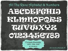 All The Rave Alphabet and Numbers in .SVG .EPS by TheSVGFontStore