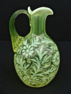 Vintage FENTON Daisy and Fern Yellow Topaz Cruet Opalescent Vaseline Glass