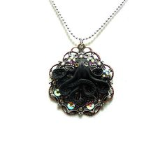 Black Octopus Filigree Necklace with Swarovski Crystals by Diamonds and Coal