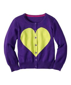 Look at this #zulilyfind! Grape Juice Heart Cardigan - Infant, Toddler & Girls #zulilyfinds